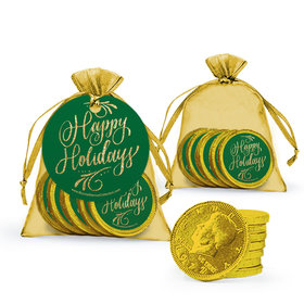 Bonnie Marcus Happy Holidays Flourish Chocolate Coins in XS Organza Bags with Gift Tag