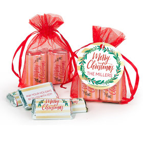 Personalized Christmas Chic Hershey's Miniatures in Organza Bags with Gift Tag