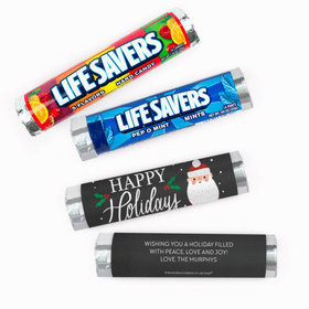 Personalized Bonnie Marcus Christmas Snowy Santa Lifesavers Rolls (20 Rolls)