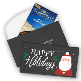 Deluxe Personalized Snowy Santa Christmas Ghirardelli Chocolate Bar in Gift Box