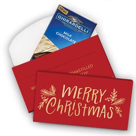Deluxe Personalized Joyful Gold Christmas Ghirardelli Chocolate Bar in Gift Box