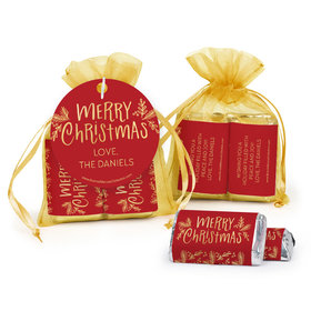 Personalized Christmas Joyful Gold Hershey's Miniatures in Organza Bags with Gift Tag
