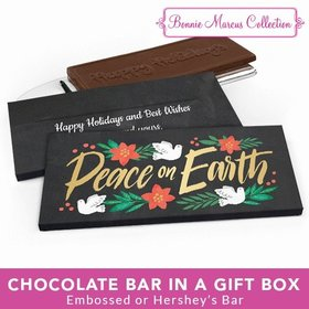 Deluxe Personalized Christmas Peace on Earth Chocolate Bar in Metallic Gift Box