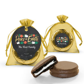 Christmas Peace on Earth Chocolate Covered Oreo Cookies in Organza Bags with Gift tag