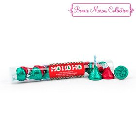 Personalized Christmas Ho Ho Holidays Gumball Tube with Hershey's Kisses