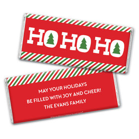 Personalized Bonnie Marcus Christmas Ho Ho Ho's Chocolate Bar & Wrapper with Gold Foil