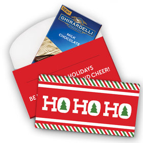 Deluxe Personalized Ho Ho Ho's Christmas Ghirardelli Peppermint Bark Bar in Gift Box (3.5oz)