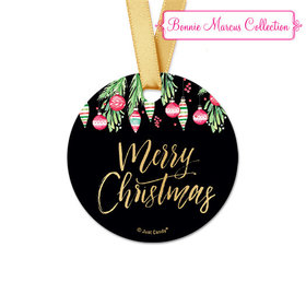 Personalized Round Bonnie Marcus Christmas Ornate Ornaments Favor Gift Tags (20 Pack)