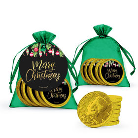 Bonnie Marcus Christmas Ornate Ornaments Chocolate Coins in XS Organza Bags
