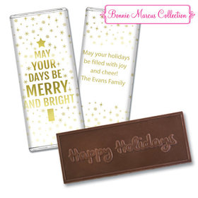 Personalized Bonnie Marcus Christmas Glittery Gold Embossed Chocolate Bar
