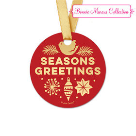 Personalized Round Bonnie Marcus Christmas Seasons Greetings Favor Gift Tags (20 Pack)