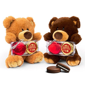 Season's Greetings Teddy Bear with Chocolate Covered Oreo 2pk
