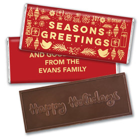 Personalized Bonnie Marcus Christmas Season's Greetings Embossed Chocolate Bar