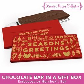 Deluxe Personalized Christmas Seasons Greetings Chocolate Bar in Metallic Gift Box