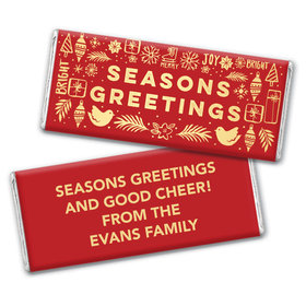 Personalized Bonnie Marcus Christmas Season's Greetings Chocolate Bar & Wrapper with Gold Foil