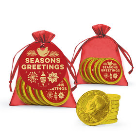 Bonnie Marcus Christmas Season's Greetings Chocolate Coins in XS Organza Bags with Gift Tag