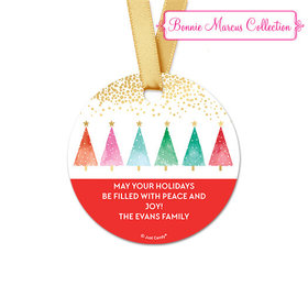 Personalized Round Bonnie Marcus Christmas Shimmering Pines Favor Gift Tags (20 Pack)