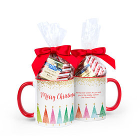 Personalized Bonnie Marcus Christmas Shimmering Pines 11oz Mug with Ghirardelli Peppermint Bark Squares