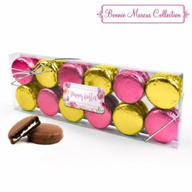 Bonnie Marcus Easter Pink Flowers 12PK Gold & Pink Belgian Chocolate Covered Oreo Cookies