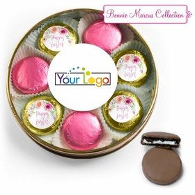 Add Your Logo Easter Pink Flowers Belgian Chocolate Covered Oreo Cookies Large Plastic Tin