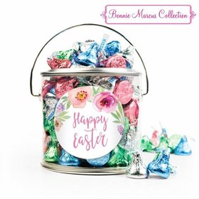 Easter Pink Flowers Silver Paint Can with Sticker - 1lb Spring Mix Kisses
