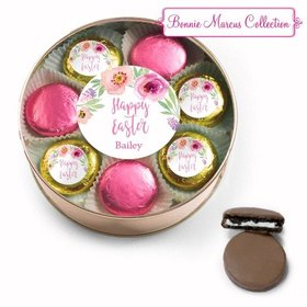 Personalized Easter Pink Flowers Chocolate Covered Oreo Cookies Extra-Large Plastic Tin
