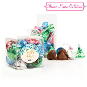 Personalized Easter Blue Flowers Clear Gift Box with Sticker - Approx. 16 Spring Mix Hershey's Kisses
