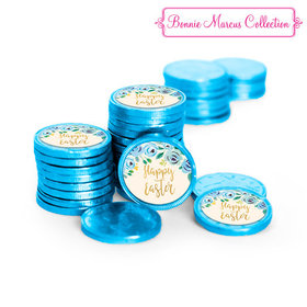Bonnie Marcus Collection Easter Blue Flowers Chocolate Coins with Stickers (72 Pack)