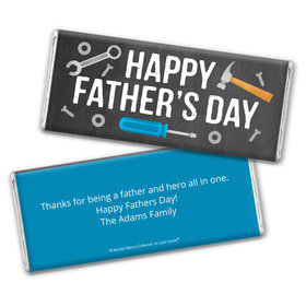 Personalized Bonnie Marcus Collection Father's Day Tools Chocolate Bar & Wrapper with Gold Foil