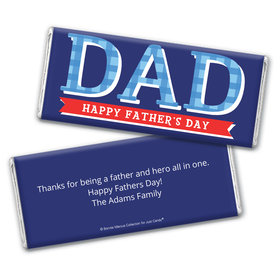 Personalized Bonnie Marcus Collection Father's Day Plaid Chocolate Bar Wrappers