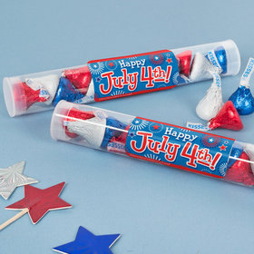 Bonnie Marcus 4th of July Gumball Tube with Patriotic Hershey's Kisses