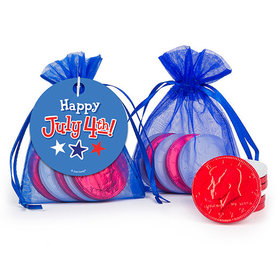 Bonnie Marcus Independence Day Fireworks Milk Chocolate Coins in Organza Bags with Gift Tag