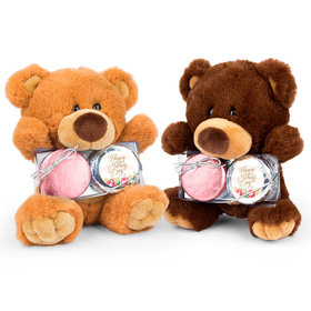 Mother's Day Pink Flowers Teddy Bear with Chocolate Covered Oreo 2pk