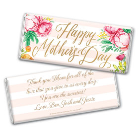 Personalized Bonnie Marcus Mother's Day Pink Flowers Chocolate Bar & Wrapper