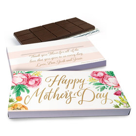 Deluxe Personalized Pink Flowers Mother's Day Chocolate Bar in Gift Box (3oz Bar)
