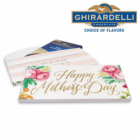 Deluxe Personalized Pink Flowers Mother's Day Ghirardelli Chocolate Bar in Gift Box