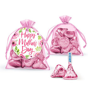 Personalized Mother's Day Pink Floral Hershey's Kisses in Organza Bags with Gift Tag