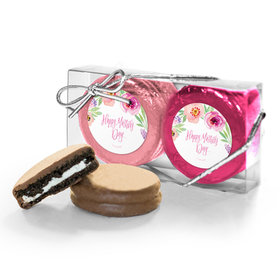 Bonnie Marcus Collection Mother's Day Floral Embrace 2PK Belgian Chocolate Covered Oreo Cookies