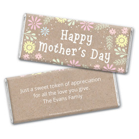 Personalized Bonnie Marcus Collection Mother's Day Pastel Flowers Chocolate Bar Wrappers
