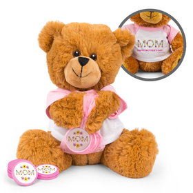 Mother's Day Floral Mom Teddy Bear with Chocolate Coins in XS Organza Bag