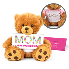 Personalized Mother's Day Floral Mom Teddy Bear with Belgian Chocolate Bar in Deluxe Gift Box
