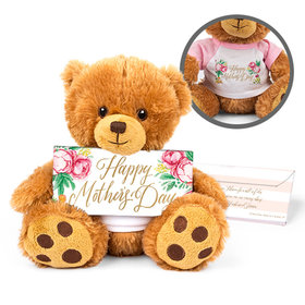 Personalized Mother's Day Floral Teddy Bear with Belgian Chocolate Bar in Deluxe Gift Box