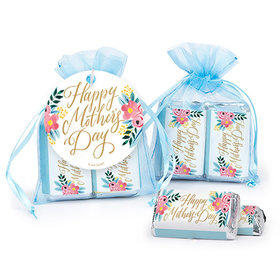 Personalized Mother's Day Floral Hershey's Miniatures in Organza Bags with Gift Tag