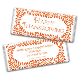 Personalized Bonnie Marcus Thanksgiving Leaves Chocolate Bar & Wrapper