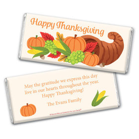 Personalized Bonnie Marcus Thanksgiving Cornucopia Chocolate Bar & Wrapper
