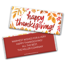 Personalized Bonnie Marcus Thanksgiving Fall Foliage Chocolate Bar & Wrapper