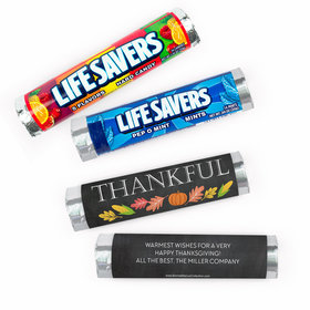 Personalized Bonnie Marcus Thanksgiving Thankful Chalkboard Lifesavers Rolls (20 Rolls)