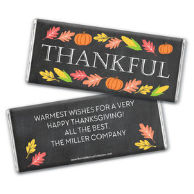 Personalized Bonnie Marcus Thanksgiving Thankful Chalkboard Chocolate Bar & Wrapper