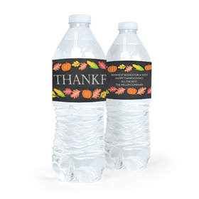 Personalized Bonnie Marcus Thanksgiving Thankful Chalkboard Water Bottle Labels (5 Labels)