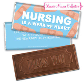 Personalized Bonnie Marcus Collection Nurse Appreciation Hearts Embossed Thank You Chocolate Bar